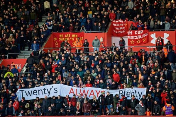 "SOUTHAMPTON, ENGLAND - Sunday, February 11, 2018: Liverpool supporters' banner ""Twenty's Always Plenty"" as they protest against high ticket prices during the FA Premier League match between Southampton FC and Liverpool FC at St. Mary's Stadium. (Pic by David Rawcliffe/Propaganda)"