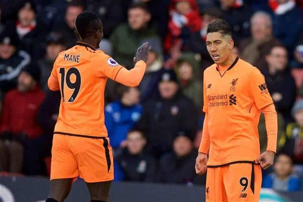 SOUTHAMPTON, ENGLAND - Sunday, February 11, 2018: Liverpool's Roberto Firmino celebrates scoring the first goal during the FA Premier League match between Southampton FC and Liverpool FC at St. Mary's Stadium. (Pic by David Rawcliffe/Propaganda)