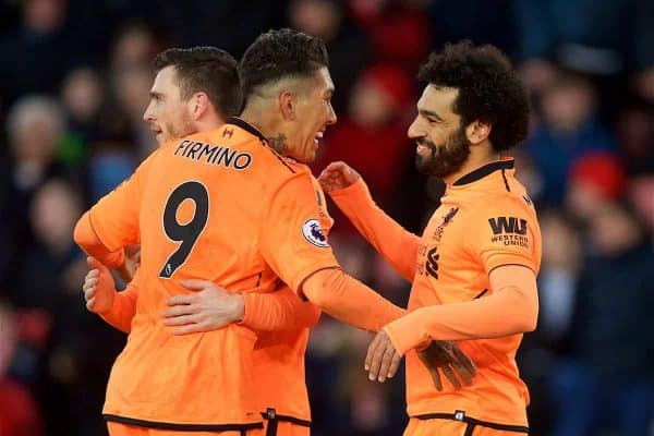 SOUTHAMPTON, ENGLAND - Sunday, February 11, 2018: Liverpool's Mohamed Salah celebrates scoring the second goal during the FA Premier League match between Southampton FC and Liverpool FC at St. Mary's Stadium. (Pic by David Rawcliffe/Propaganda)