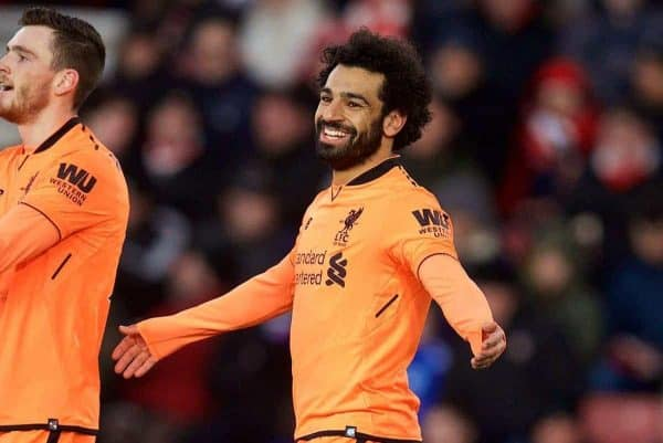 Liverpool's Mohamed Salah celebrates scoring the second goal during the FA Premier League match between Southampton FC and Liverpool FC at St. Mary's Stadium. (Pic by David Rawcliffe/Propaganda)