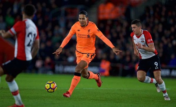 Liverpool's Virgil van Dijk during the FA Premier League match between Southampton FC and Liverpool FC at St. Mary's Stadium