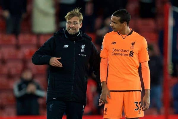 SOUTHAMPTON, ENGLAND - Sunday, February 11, 2018: Liverpool's manager Jürgen Klopp and Joel Matip after the FA Premier League match between Southampton FC and Liverpool FC at St. Mary's Stadium. (Pic by David Rawcliffe/Propaganda)
