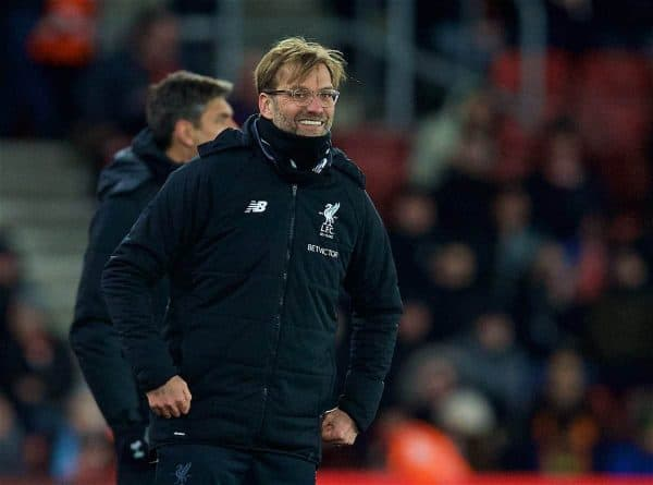 SOUTHAMPTON, ENGLAND - Sunday, February 11, 2018: Liverpool's manager Jürgen Klopp reacts during the FA Premier League match between Southampton FC and Liverpool FC at St. Mary's Stadium. (Pic by David Rawcliffe/Propaganda)