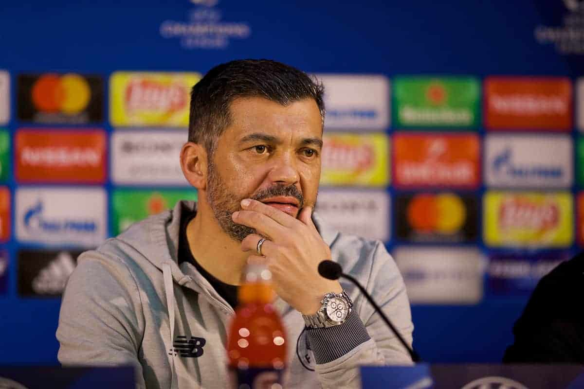 PORTO, PORTUGAL - Tuesday, February 13, 2018: FC Porto head coach Sérgio Conceição during a press conference at the Estádio do Dragão ahead of the UEFA Champions League Round of 16 1st leg match between FC Porto and Liverpool FC. (Pic by David Rawcliffe/Propaganda)