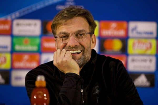 PORTO, PORTUGAL - Tuesday, February 13, 2018: Liverpool's manager Jürgen Klopp during a press conference at the Estádio do Dragão ahead of the UEFA Champions League Round of 16 1st leg match between FC Porto and Liverpool FC. (Pic by David Rawcliffe/Propaganda)