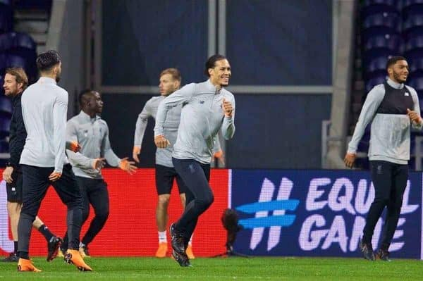 "PORTO, PORTUGAL - Tuesday, February 13, 2018: Liverpool's Virgil van Dijk during a training session at the Est·dio do Drag""o ahead of the UEFA Champions League Round of 16 1st leg match between FC Porto and Liverpool FC. (Pic by David Rawcliffe/Propaganda)"