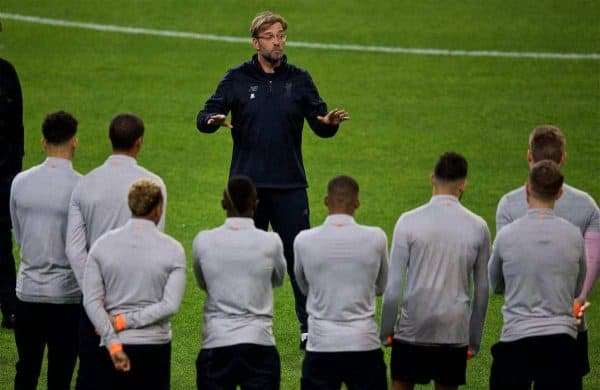 Liverpool's manager Jürgen Klopp during a training session at the Estádio do Dragão ahead of the UEFA Champions League Round of 16 1st leg match between FC Porto and Liverpool FC. (Pic by David Rawcliffe/Propaganda)