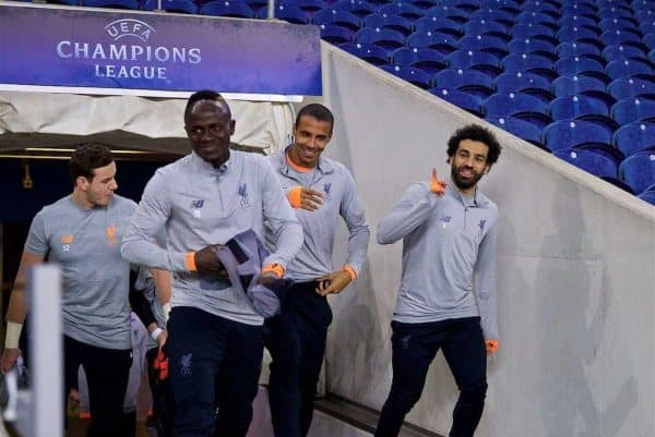 PORTO, PORTUGAL - Tuesday, February 13, 2018: Liverpool's Sadio Mane, Joel Matip and Mohamed Salah during a training session at the Estádio do Dragão ahead of the UEFA Champions League Round of 16 1st leg match between FC Porto and Liverpool FC. (Pic by David Rawcliffe/Propaganda)