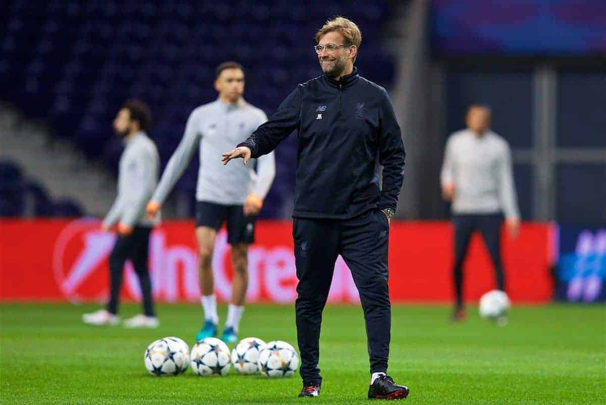 PORTO, PORTUGAL - Tuesday, February 13, 2018: Liverpool's manager Jürgen Klopp during a training session at the Estádio do Dragão ahead of the UEFA Champions League Round of 16 1st leg match between FC Porto and Liverpool FC. (Pic by David Rawcliffe/Propaganda)