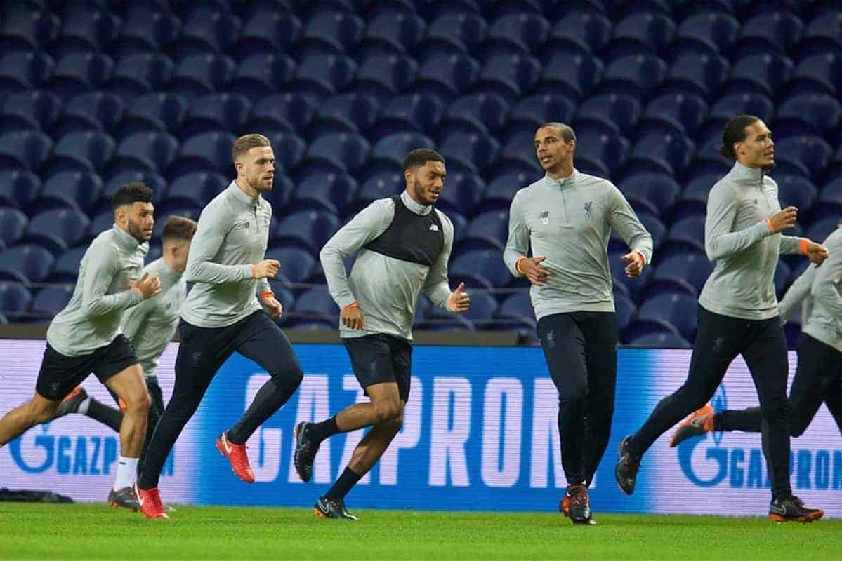 """PORTO, PORTUGAL - Tuesday, February 13, 2018: Liverpool's Dominic Solanke, Alex Oxlade-Chamberlain, captain Jordan Henderson, Joe Gomez, Joel Matip, Virgil van Dijk during a training session at the Est·dio do Drag""""o ahead of the UEFA Champions League Round of 16 1st leg match between FC Porto and Liverpool FC. (Pic by David Rawcliffe/Propaganda)"""