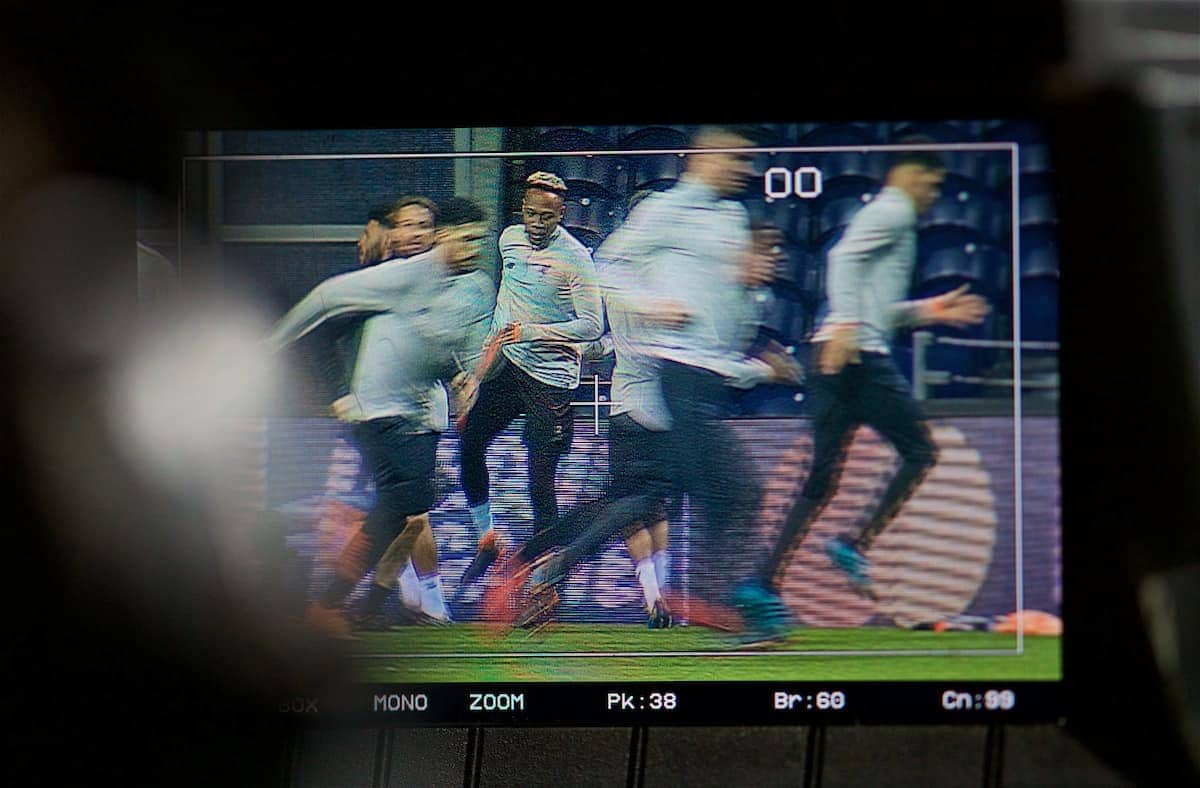 PORTO, PORTUGAL - Tuesday, February 13, 2018: Liverpool's Nathaniel Clyne, shown on a camera's television monitor during a training session at the Estádio do Dragão ahead of the UEFA Champions League Round of 16 1st leg match between FC Porto and Liverpool FC. (Pic by David Rawcliffe/Propaganda)