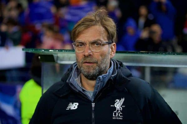 """PORTO, PORTUGAL - Wednesday, February 14, 2018: Liverpool's manager J¸rgen Klopp beforer the UEFA Champions League Round of 16 1st leg match between FC Porto and Liverpool FC on Valentine's Day at the Est·dio do Drag""""o. (Pic by David Rawcliffe/Propaganda)"""