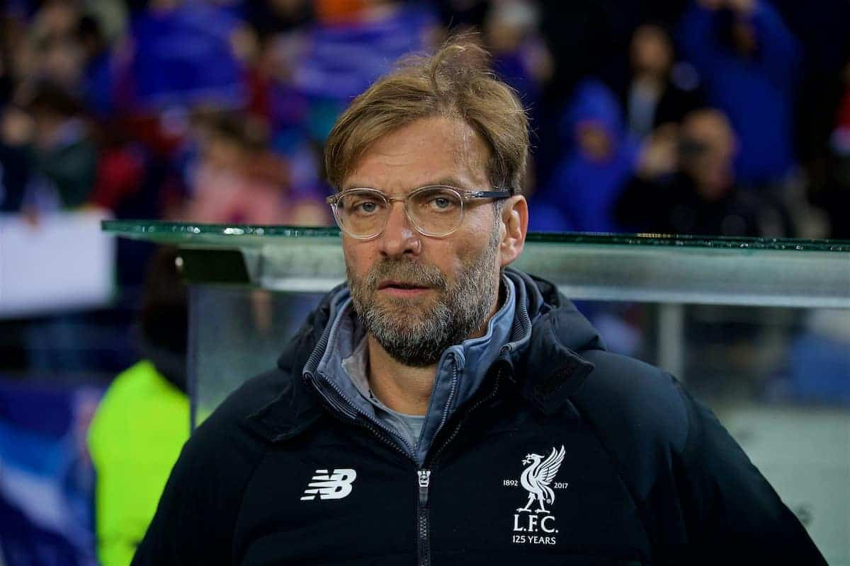 "PORTO, PORTUGAL - Wednesday, February 14, 2018: Liverpool's manager J¸rgen Klopp beforer the UEFA Champions League Round of 16 1st leg match between FC Porto and Liverpool FC on Valentine's Day at the Est·dio do Drag""o. (Pic by David Rawcliffe/Propaganda)"