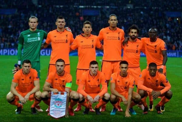 """PORTO, PORTUGAL - Wednesday, February 14, 2018: Liverpool's xxxx during the UEFA Champions League Round of 16 1st leg match between FC Porto and Liverpool FC on Valentine's Day at the Est·dio do Drag""""o. (Pic by David Rawcliffe/Propaganda)"""