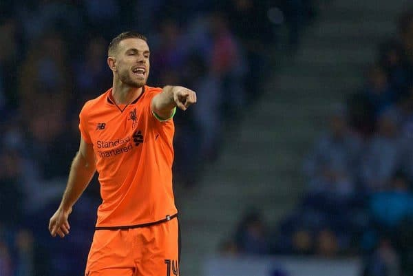 Liverpool's captain Jordan Henderson during the UEFA Champions League Round of 16 1st leg match between FC Porto and Liverpool FC on Valentine's Day at the Estádio do Dragão. (Pic by David Rawcliffe/Propaganda)