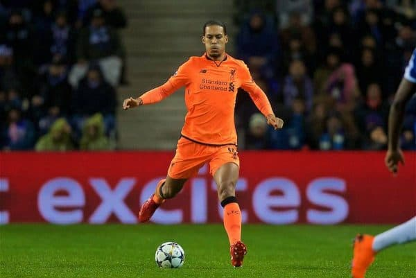 Liverpool's Virgil van Dijk during the UEFA Champions League Round of 16 1st leg match between FC Porto and Liverpool FC on Valentine's Day at the Estádio do Dragão. (Pic by David Rawcliffe/Propaganda)
