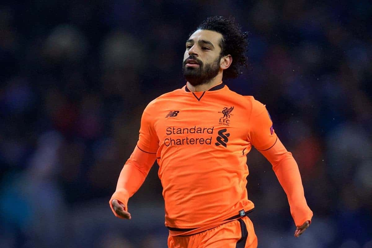 "PORTO, PORTUGAL - Wednesday, February 14, 2018: Liverpool's Mohamed Salah during the UEFA Champions League Round of 16 1st leg match between FC Porto and Liverpool FC on Valentine's Day at the Est·dio do Drag""o. (Pic by David Rawcliffe/Propaganda)"