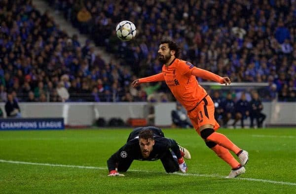 """Liverpool's Mohamed Salah scores the first goal during the UEFA Champions League Round of 16 1st leg match between FC Porto and Liverpool FC on Valentine's Day at the Est·dio do Drag""""o. (Pic by David Rawcliffe/Propaganda)"""