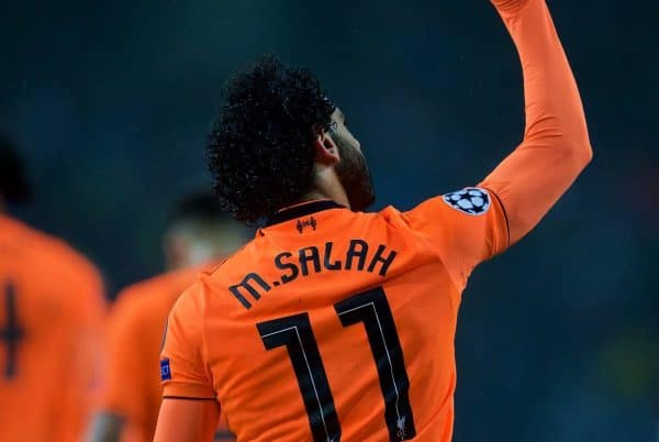 """PORTO, PORTUGAL - Wednesday, February 14, 2018: Liverpool's Mohamed Salah celebrates scoring the second goal during the UEFA Champions League Round of 16 1st leg match between FC Porto and Liverpool FC on Valentine's Day at the Est·dio do Drag""""o. (Pic by David Rawcliffe/Propaganda)"""