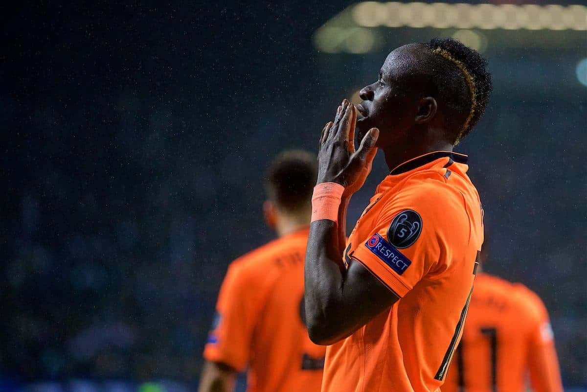 PORTO, PORTUGAL - Wednesday, February 14, 2018: Liverpool's Sadio Mane celebrates scoring the third goal during the UEFA Champions League Round of 16 1st leg match between FC Porto and Liverpool FC on Valentine's Day at the Estádio do Dragão. (Pic by David Rawcliffe/Propaganda)