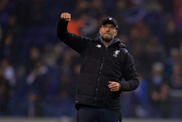 PORTO, PORTUGAL - Wednesday, February 14, 2018: Liverpool's manager Jürgen Klopp celebrates after the 5-0 victory over FC Porto during the UEFA Champions League Round of 16 1st leg match between FC Porto and Liverpool FC on Valentine's Day at the Estádio do Dragão. (Pic by David Rawcliffe/Propaganda)