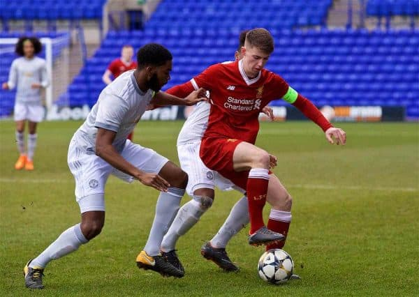 BIRKENHEAD, ENGLAND - Wednesday, February 21, 2018: Liverpool's captain Ben Woodburn during the UEFA Youth League Quarter-Final match between Liverpool FC and Manchester United FC at Prenton Park. (Pic by David Rawcliffe/Propaganda)