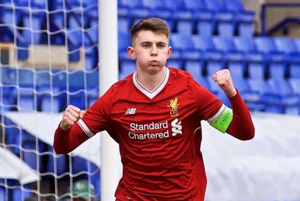 BIRKENHEAD, ENGLAND - Wednesday, February 21, 2018: Liverpool's captain Ben Woodburn celebrates scoring the first goal during the UEFA Youth League Quarter-Final match between Liverpool FC and Manchester United FC at Prenton Park. (Pic by David Rawcliffe/Propaganda)