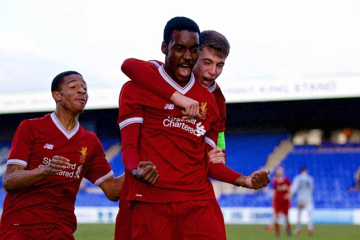 Liverpool's substitute Rafael Camacho celebrates scoring the second goal during the UEFA Youth League Quarter-Final match between Liverpool FC and Manchester United FC at Prenton Park. (Pic by David Rawcliffe/Propaganda)