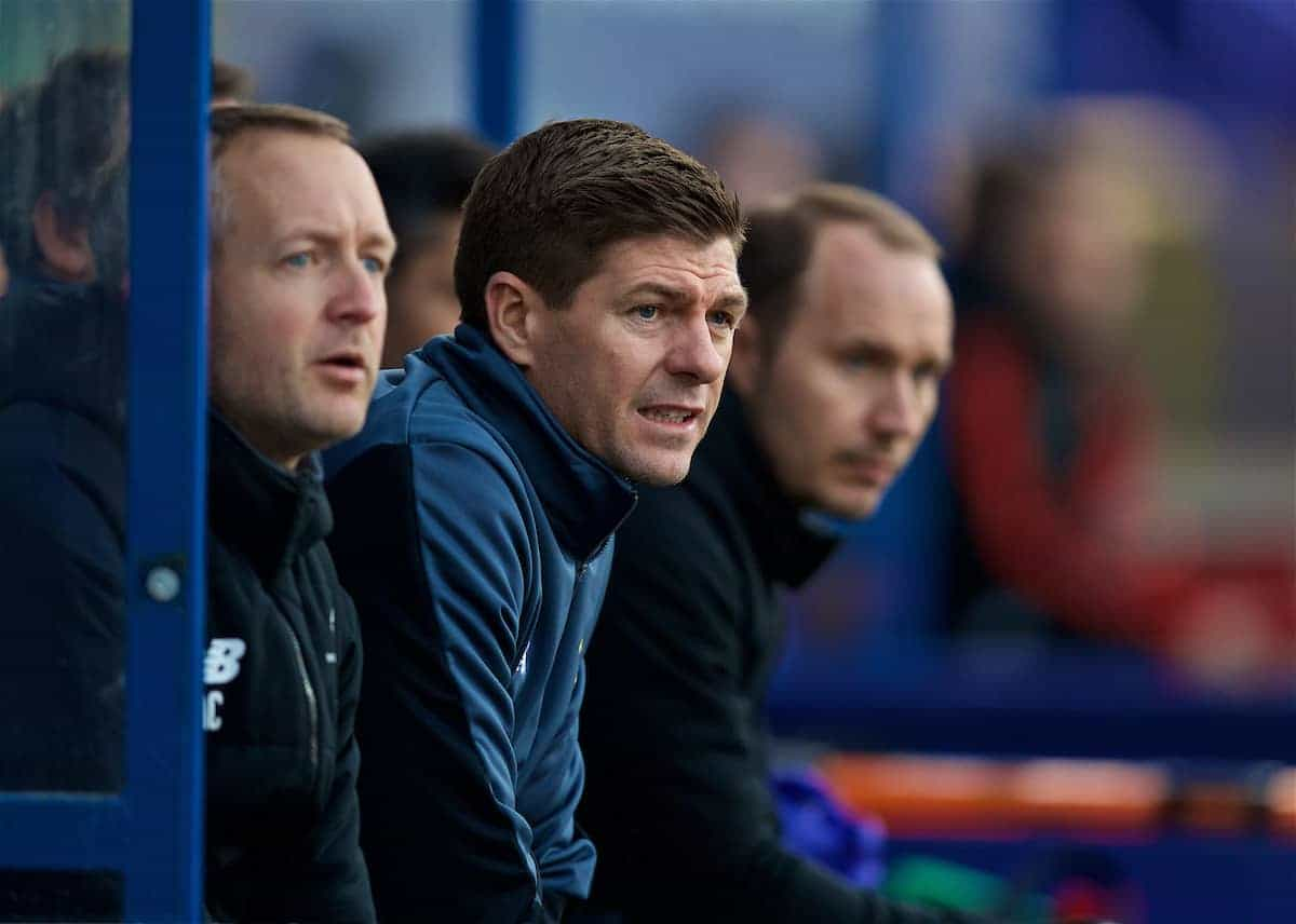 BIRKENHEAD, ENGLAND - Wednesday, February 21, 2018: Liverpool's Under-18 manager Steven Gerrard during the UEFA Youth League Quarter-Final match between Liverpool FC and Manchester United FC at Prenton Park. (Pic by David Rawcliffe/Propaganda)