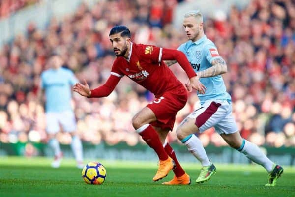 BIRKENHEAD, ENGLAND - Wednesday, February 21, 2018: Liverpool's Emre Can during the UEFA Youth League Quarter-Final match between Liverpool FC and Manchester United FC at Prenton Park. (Pic by David Rawcliffe/Propaganda)