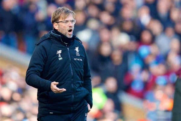 BIRKENHEAD, ENGLAND - Wednesday, February 21, 2018: Liverpool's manager Jürgen Klopp reacts during the UEFA Youth League Quarter-Final match between Liverpool FC and Manchester United FC at Prenton Park. (Pic by David Rawcliffe/Propaganda)