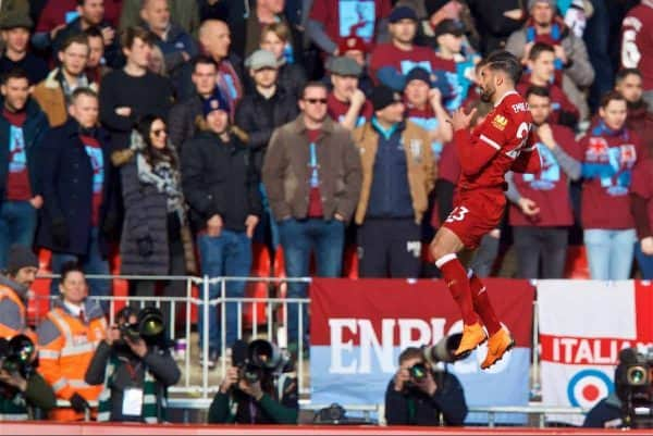 BIRKENHEAD, ENGLAND - Wednesday, February 21, 2018: Liverpool's Emre Can celebrates scoring the first goal during the UEFA Youth League Quarter-Final match between Liverpool FC and Manchester United FC at Prenton Park. (Pic by David Rawcliffe/Propaganda)