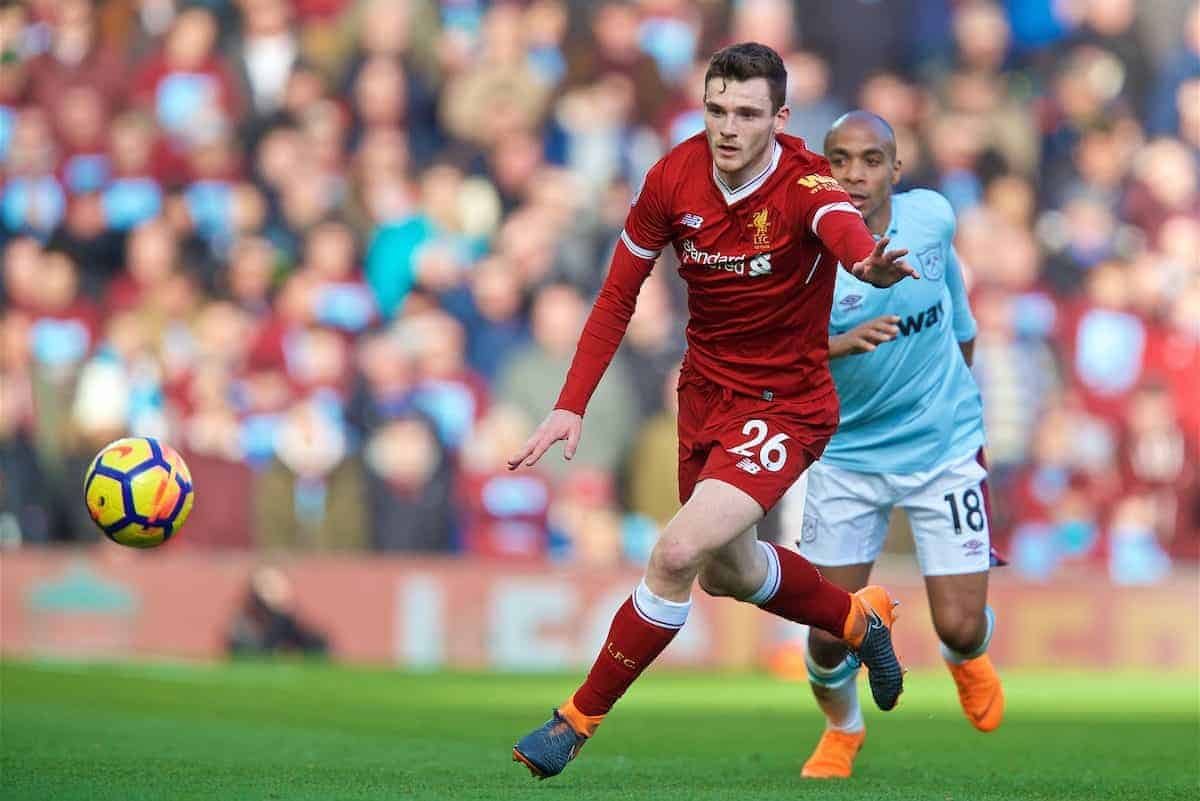BIRKENHEAD, ENGLAND - Wednesday, February 21, 2018: Liverpool's Andy Robertson during the UEFA Youth League Quarter-Final match between Liverpool FC and Manchester United FC at Prenton Park. (Pic by David Rawcliffe/Propaganda)