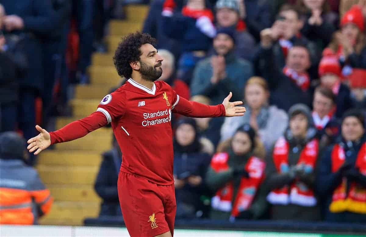 BIRKENHEAD, ENGLAND - Wednesday, February 21, 2018: Liverpool's Mohamed Salah celebrates scoring the second goal during the UEFA Youth League Quarter-Final match between Liverpool FC and Manchester United FC at Prenton Park. (Pic by David Rawcliffe/Propaganda)