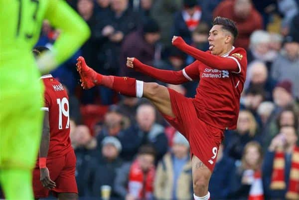 BIRKENHEAD, ENGLAND - Wednesday, February 21, 2018: Liverpool's Roberto Firmino celebrates scoring the third goal during the UEFA Youth League Quarter-Final match between Liverpool FC and Manchester United FC at Prenton Park. (Pic by David Rawcliffe/Propaganda)