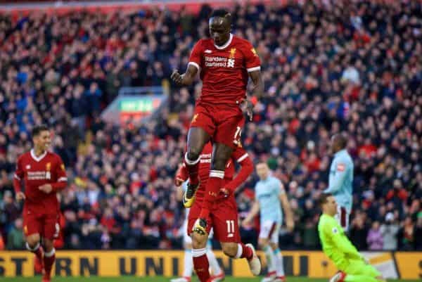BIRKENHEAD, ENGLAND - Wednesday, February 21, 2018: Liverpool's Sadio Mane celebrates scoring the fourth goal during the UEFA Youth League Quarter-Final match between Liverpool FC and Manchester United FC at Prenton Park. (Pic by David Rawcliffe/Propaganda)