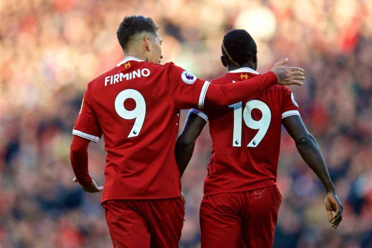 BIRKENHEAD, ENGLAND - Wednesday, February 21, 2018: Liverpool's Sadio Mane celebrates scoring the fourth goal with team-mate Roberto Firminoduring the UEFA Youth League Quarter-Final match between Liverpool FC and Manchester United FC at Prenton Park. (Pic by David Rawcliffe/Propaganda)