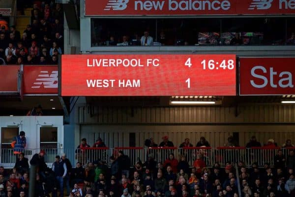 BIRKENHEAD, ENGLAND - Wednesday, February 21, 2018: Liverpool's scoreboard records the 4-1 victory over West Ham United during the UEFA Youth League Quarter-Final match between Liverpool FC and Manchester United FC at Prenton Park. (Pic by David Rawcliffe/Propaganda)