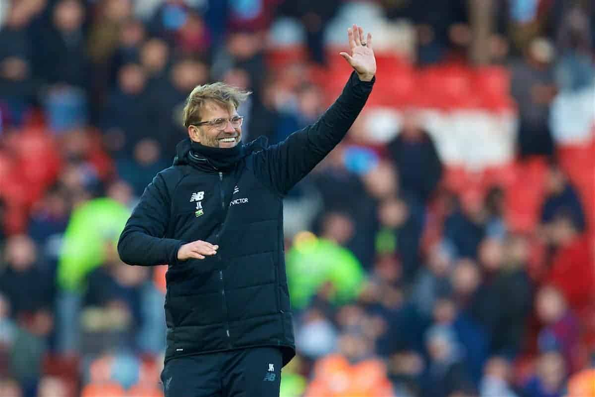 BIRKENHEAD, ENGLAND - Wednesday, February 21, 2018: Liverpool's manager Jürgen Klopp celebrates the 4-1 victory over West Ham United after the UEFA Youth League Quarter-Final match between Liverpool FC and Manchester United FC at Prenton Park. (Pic by David Rawcliffe/Propaganda)