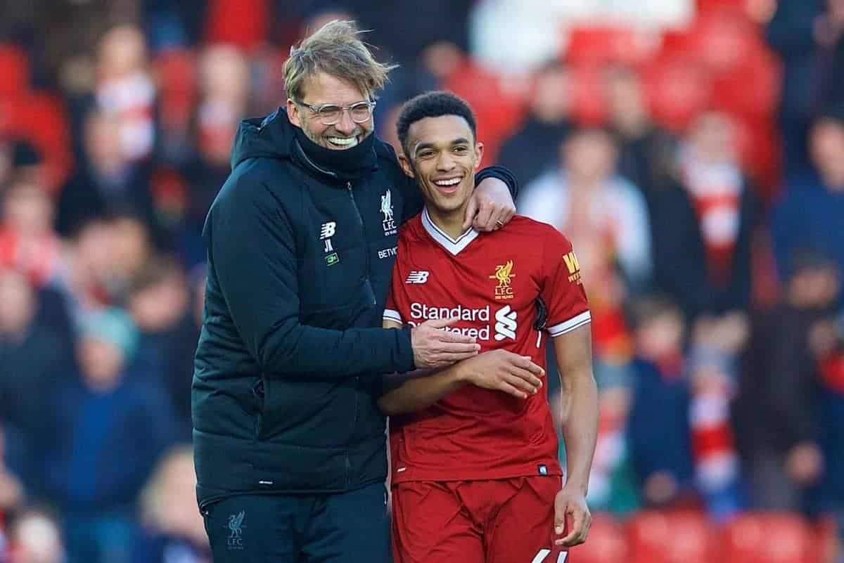 BIRKENHEAD, ENGLAND - Wednesday, February 21, 2018: Liverpool's manager J¸rgen Klopp celebrates the 4-1 victory over West Ham United with Trent Alexander-Arnold after the UEFA Youth League Quarter-Final match between Liverpool FC and Manchester United FC at Prenton Park. (Pic by David Rawcliffe/Propaganda)