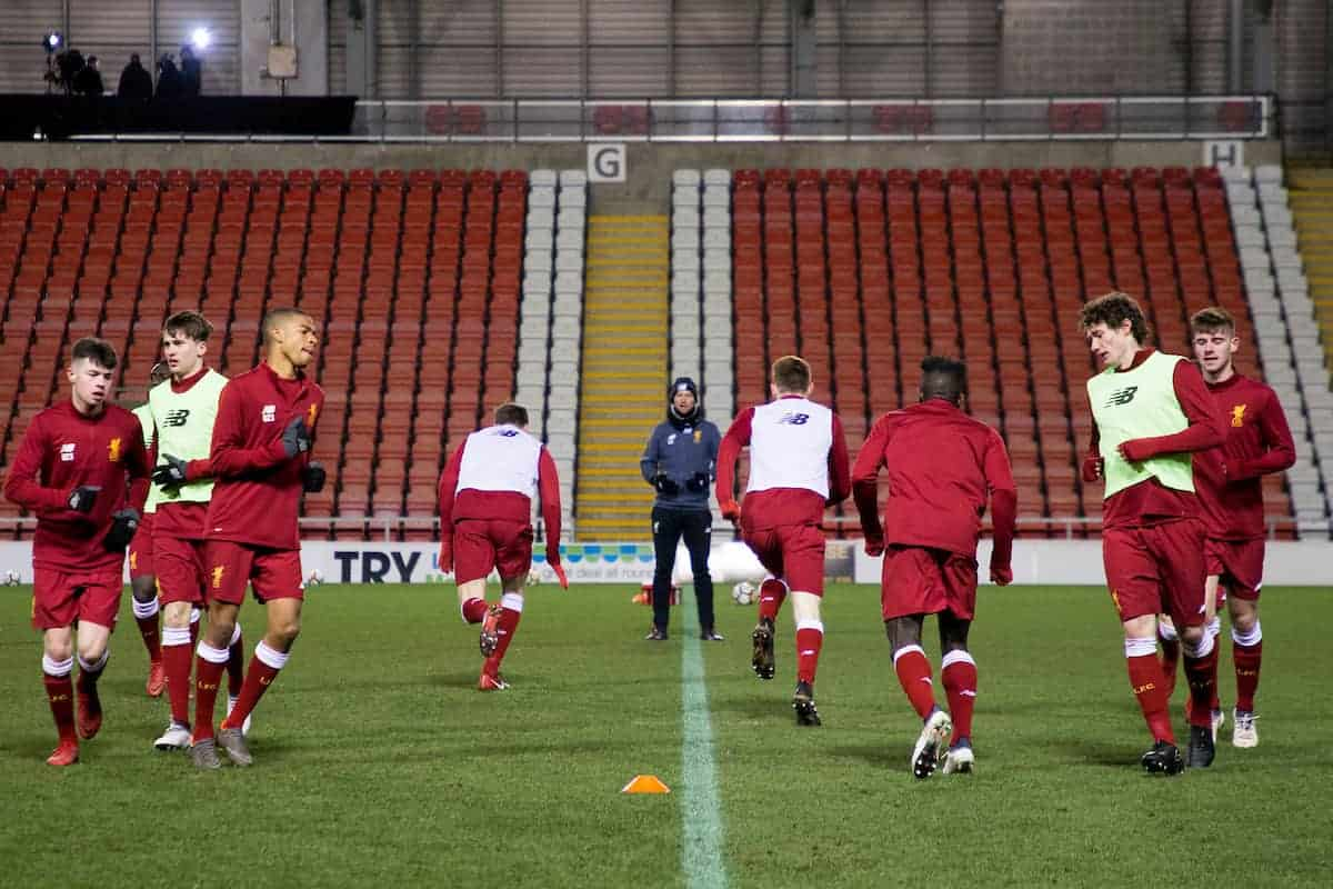 LEIGH, ENGLAND - Wednesday, February 28, 2018: Liverpool's players during the pre-match warm-up ahead of the Under-23 FA Premier League International Cup Quarter-Final match between Liverpool and FC Porto at Leigh Sports Village. (Pic by Paul Greenwood/Propaganda)