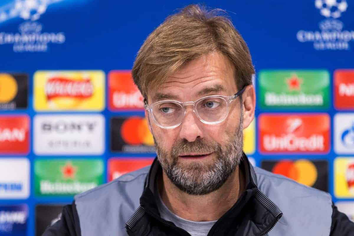 LIVERPOOL, ENGLAND - Monday, March 5, 2018: Liverpool's Liverpool Manager Jürgen Klopp during a pre-match press conference at Anfield ahead of the UEFA Champions League Round of 16 2nd leg match between Liverpool FC and FC Porto. (Pic by Paul Greenwood/Propaganda)