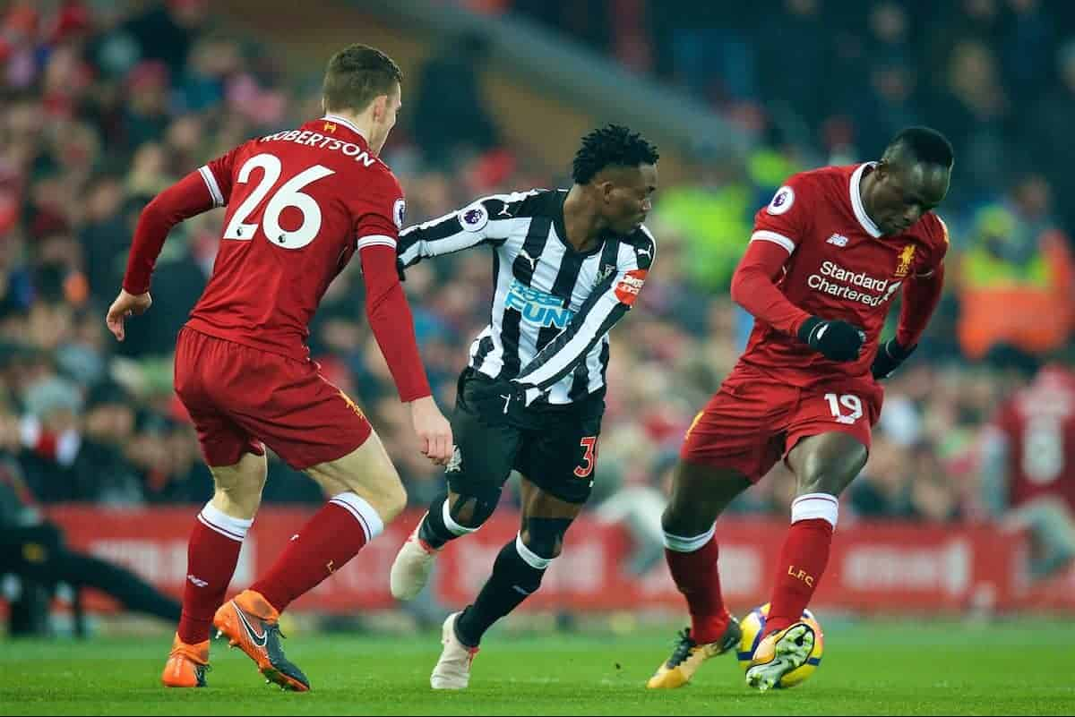 LIVERPOOL, ENGLAND - Saturday, March 3, 2018: Liverpool's Sadio Mane Newcastle United's Christian Atsu during the FA Premier League match between Liverpool FC and Newcastle United FC at Anfield. (Pic by Peter Powell/Propaganda)