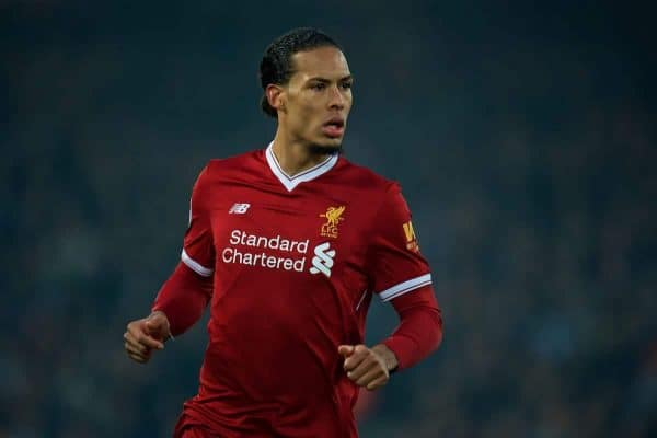 LIVERPOOL, ENGLAND - Saturday, March 3, 2018: Liverpool's Virgil van Dijk during the FA Premier League match between Liverpool FC and Newcastle United FC at Anfield. (Pic by Peter Powell/Propaganda)