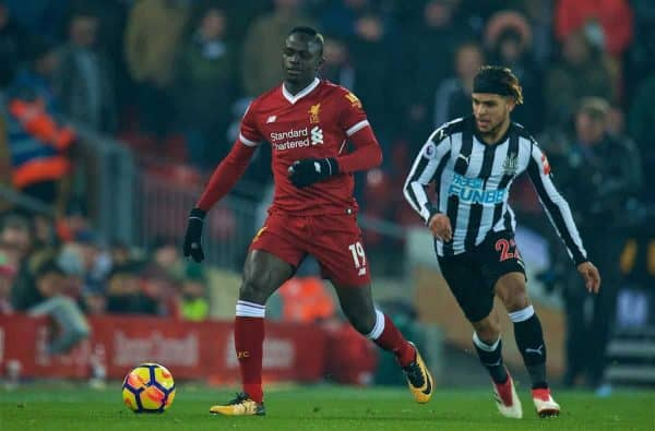 LIVERPOOL, ENGLAND - Saturday, March 3, 2018: Liverpool's Sadio Mane during the FA Premier League match between Liverpool FC and Newcastle United FC at Anfield. (Pic by Peter Powell/Propaganda)