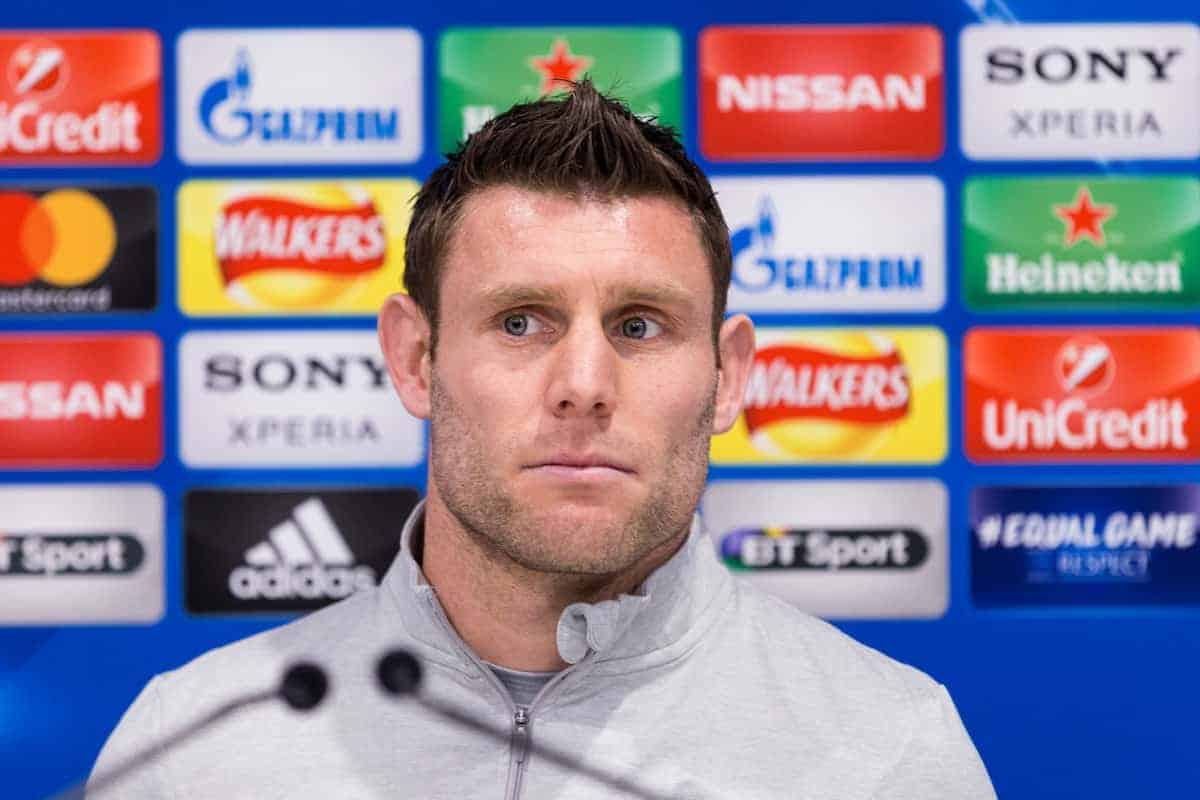 LIVERPOOL, ENGLAND - Monday, March 5, 2018: Liverpool's James Milner during a pre-match press conference at Anfield ahead of the UEFA Champions League Round of 16 2nd leg match between Liverpool FC and FC Porto. (Pic by Paul Greenwood/Propaganda)