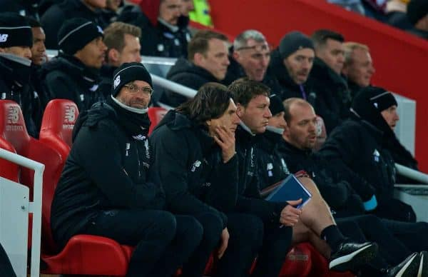 LIVERPOOL, ENGLAND - Saturday, March 3, 2018: Liverpool's manager Jürgen Klopp sits on the bench during the FA Premier League match between Liverpool FC and Newcastle United FC at Anfield. (Pic by Peter Powell/Propaganda)
