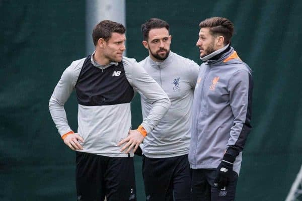 LIVERPOOL, ENGLAND - Monday, March 5, 2018: Liverpool's James Milner, Danny Ings and Adam Lallana during a training session at Melwoood ahead of the UEFA Champions League Round of 16 2nd leg match between Liverpool FC and FC Porto. (Pic by Paul Greenwood/Propaganda)