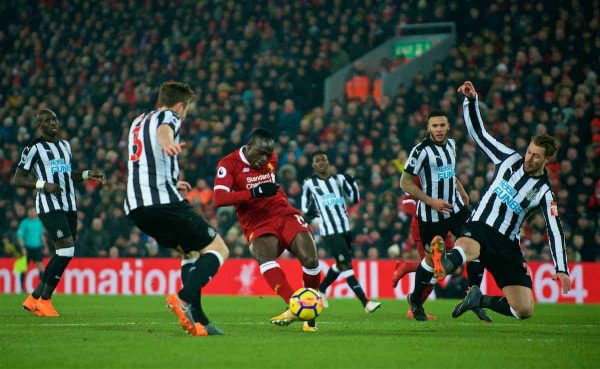 LIVERPOOL, ENGLAND - Saturday, March 3, 2018: Liverpool's Sadio Mane scores the second goal during the FA Premier League match between Liverpool FC and Newcastle United FC at Anfield. (Pic by Peter Powell/Propaganda)