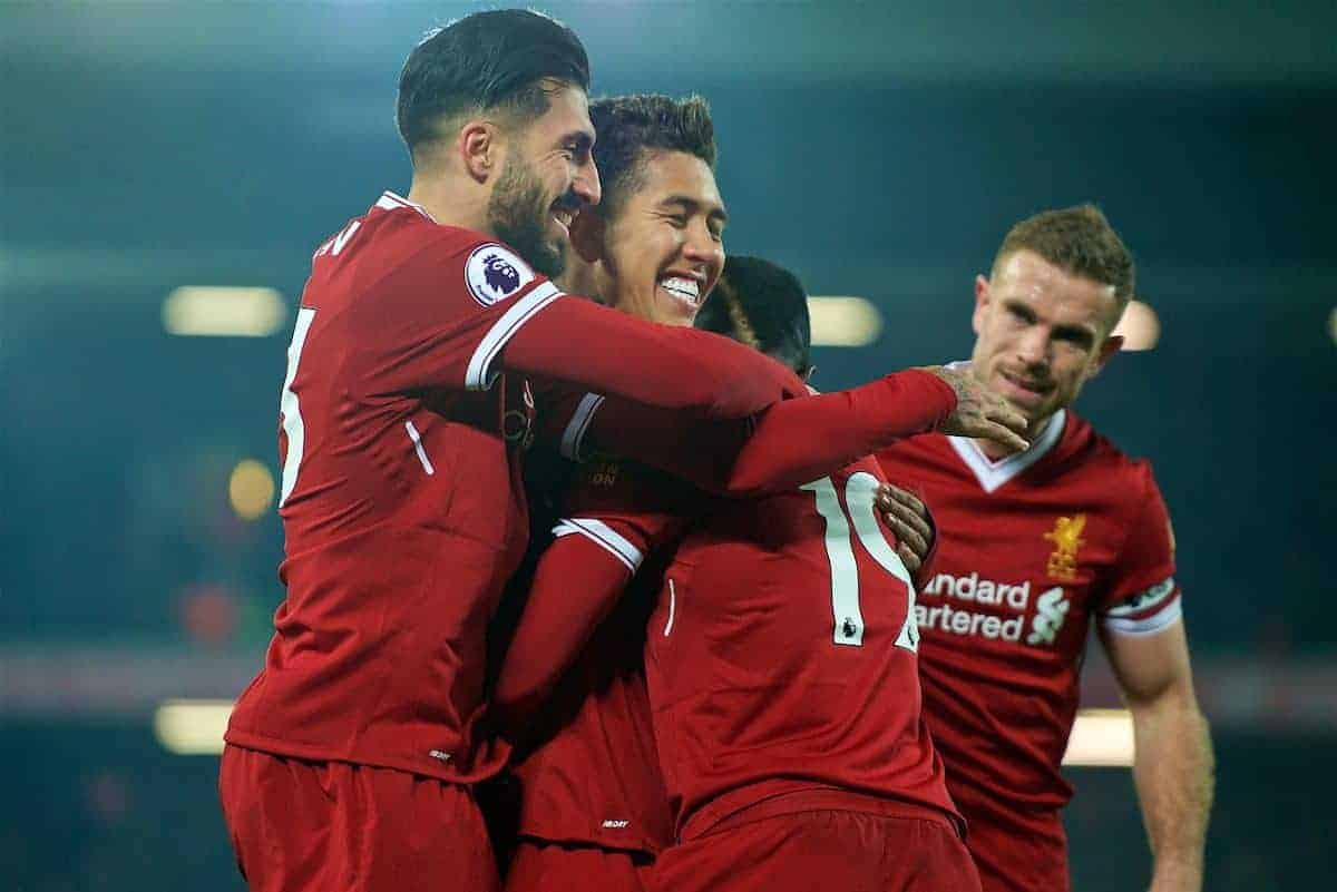 LIVERPOOL, ENGLAND - Saturday, March 3, 2018: Liverpool's Sadio Mane celebrates scoring the second goal with team-mates Emre Can and Roberto Firmino during the FA Premier League match between Liverpool FC and Newcastle United FC at Anfield. (Pic by Peter Powell/Propaganda)
